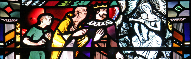 isaiah prophesies to ahaz about the virgin with child - eman - window