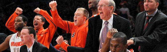 syracuse bench cheering - cropped