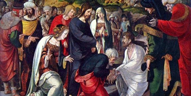 the raising of Lazarus by Aertgen Van Leyden circa 1525 - Copy